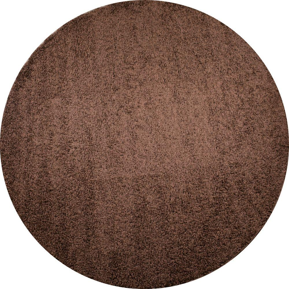 Shaggy Plain Brown 6 ft. 7 in. Round Area Rug
