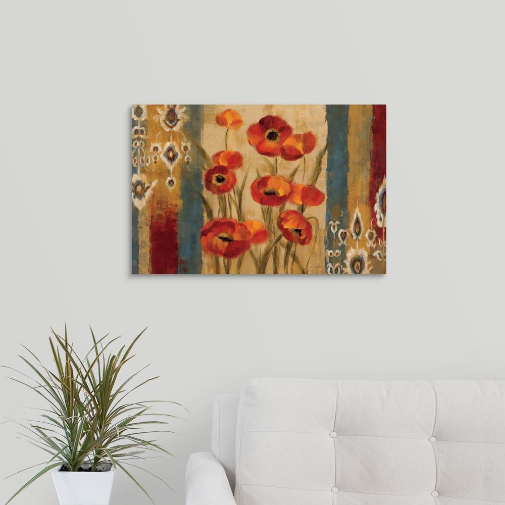 """Ikat Floral Tapestry"" by Silvia Vassileva Canvas Wall Art"