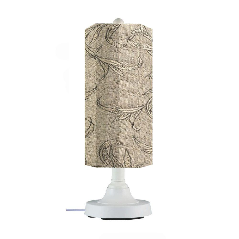 Patio Living Concepts Coronado 30 in. White Outdoor Table Lamp with Bessemer Cylinder Shade