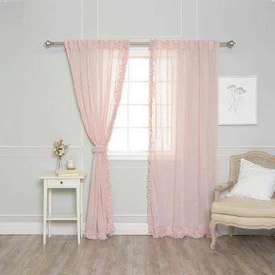 84 in. L Pink Faux Linen Charleston Small Ruffle Curtain Panel (2-Pack)