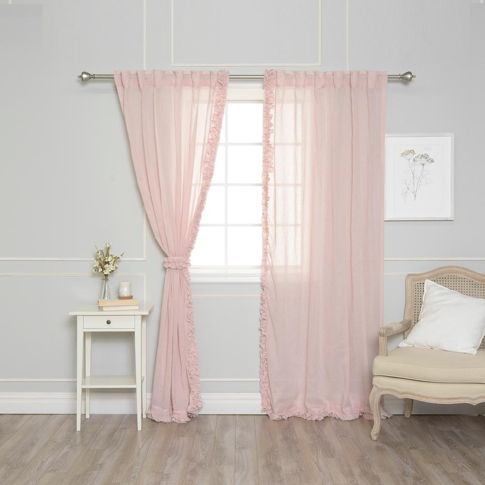 Best Home Fashion 84 In. L Pink Faux Linen Charleston