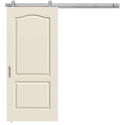 36 in. x 84 in. Camden Primed Smooth Molded Composite MDF Barn Door with Modern Hardware Kit