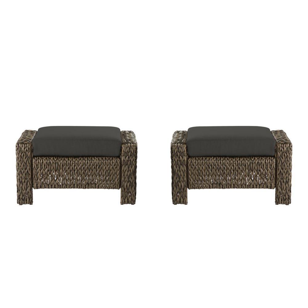 Laguna Point Brown Wicker Outdoor Patio Ottoman with CushionGuard Graphite Dark Gray Cushions (2-Pack)