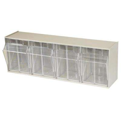 TiltView Cabinet 4-Compartment 25 lb. Capacity Small Parts Organizer Storage Bins in Tan/Clear