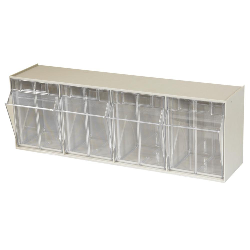 Akro Mils Tiltview Cabinet 4 Compartment 25 Lb Capacity Small Parts Organizer Storage Bins In Tan Clear 06704 The Home Depot