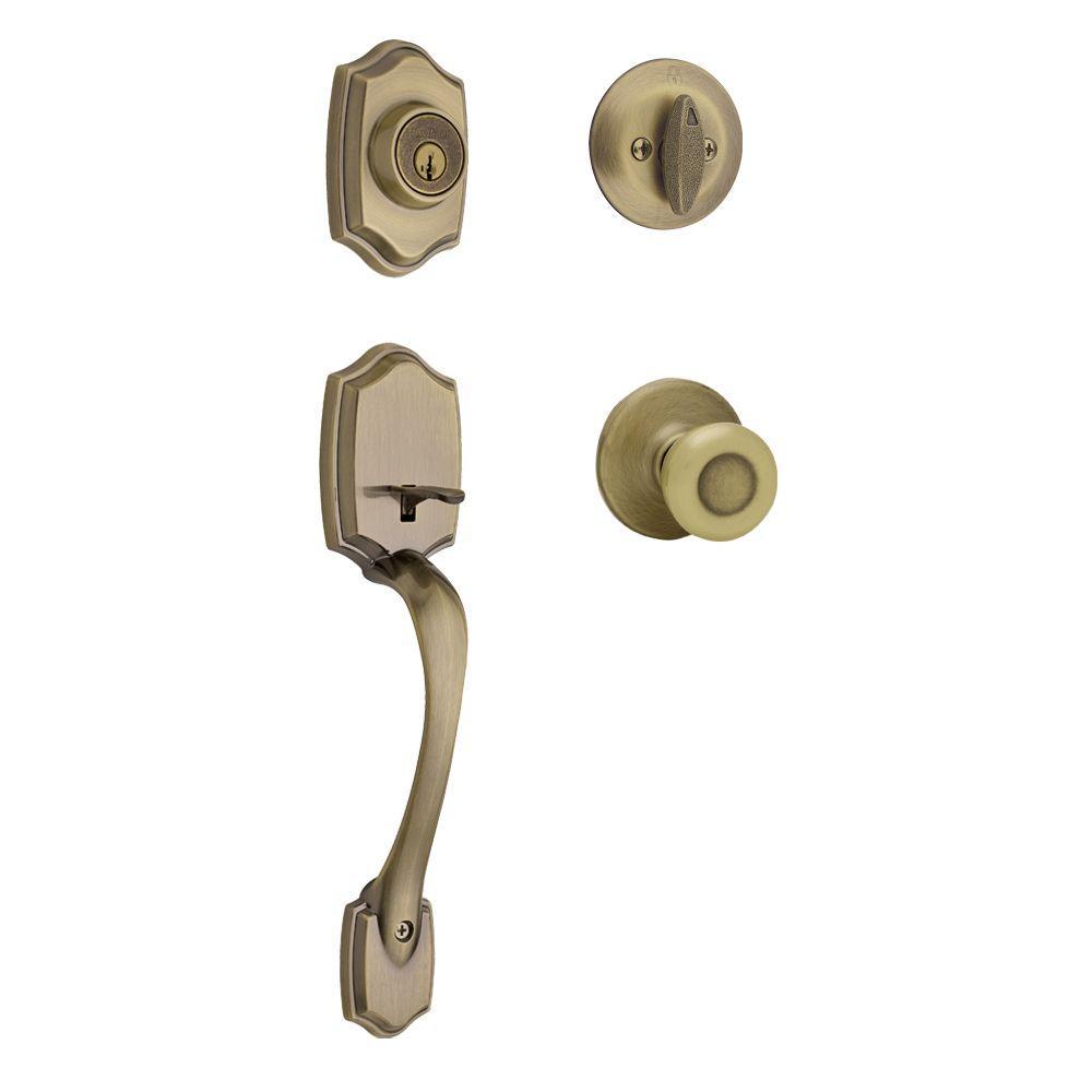 Belleview Antique Brass Single Cylinder Door Handleset with Tylo Door Knob Featuring SmartKey Security