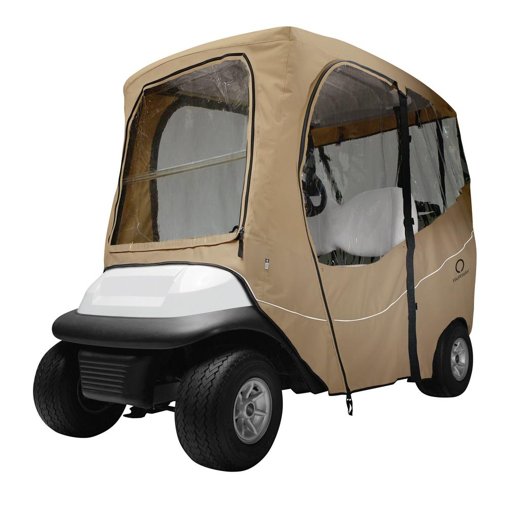Deluxe Golf Car Enclosure Light Khaki Short Roof