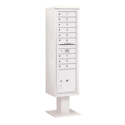 3400 Series White Mount 4C Pedestal Mailbox with 9 MB1 Doors/1 PL