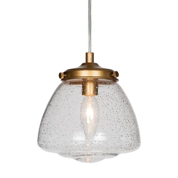 6.5 in. 1-Light Brass Farmhouse Seeded Glass Shade Transitional Pendant Light