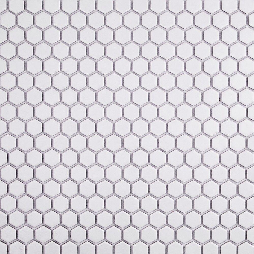 Bliss Hexagon Matte White 12 in. x 12 in. x 10 mm Ceramic Mosaic Tile