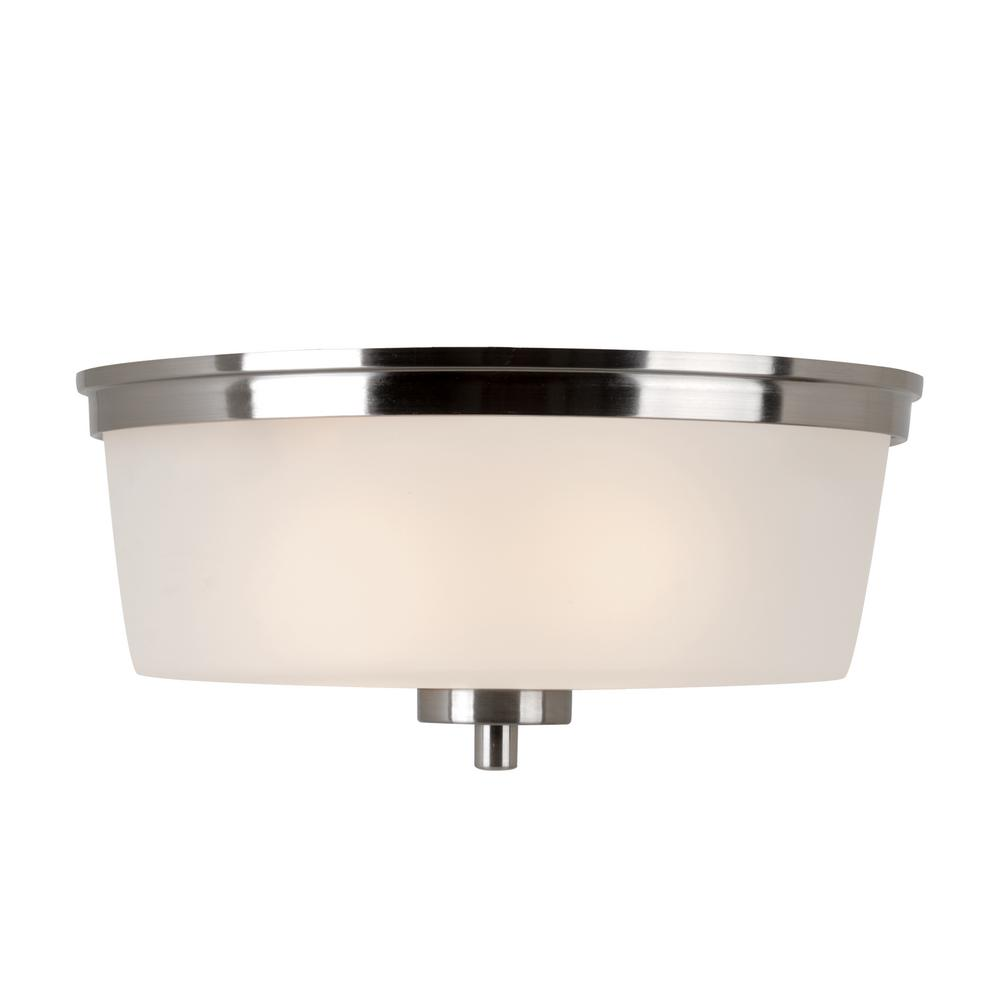 Fusion 2-Light Brushed Nickel Flushmount with Frosted Glass