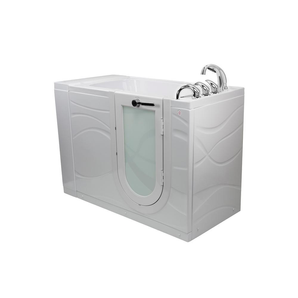 Chi 52 in. Walk-In MicroBubble Air Bath Bathtub in White W/ RHS Outward Swing Door, Heated Seat, Faucet, RHS Dual Drain