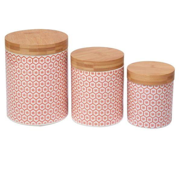 Certified International Honeycomb 3-Piece Canister Set with Bamboo Lids