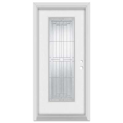 36 in. x 80 in. Architectural Left-Hand Zinc Finished Fiberglass Mahogany Woodgrain Prehung Front Door Brickmould