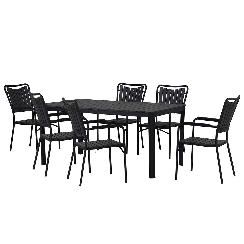 Modern Contemporary 7-Piece Black Metal Rectangular Outdoor Dining Set with Faux