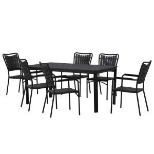 Modern Contemporary 7-Piece Black Metal Rectangular Outdoor Dining Set with Faux Wood and Stackable Chairs