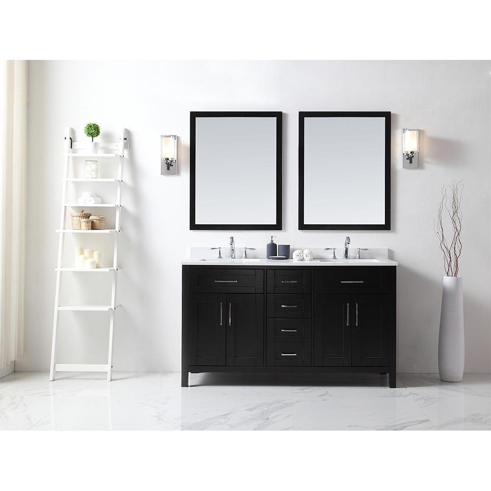 Ove Decors Tahoe Vanity Espresso Quartz Vanity Top White Basin Mirrors