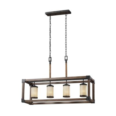 Dunning 36 in. W. 4-Light Weathered Gray and Distressed Oak Kitchen Island Light with LED Bulbs