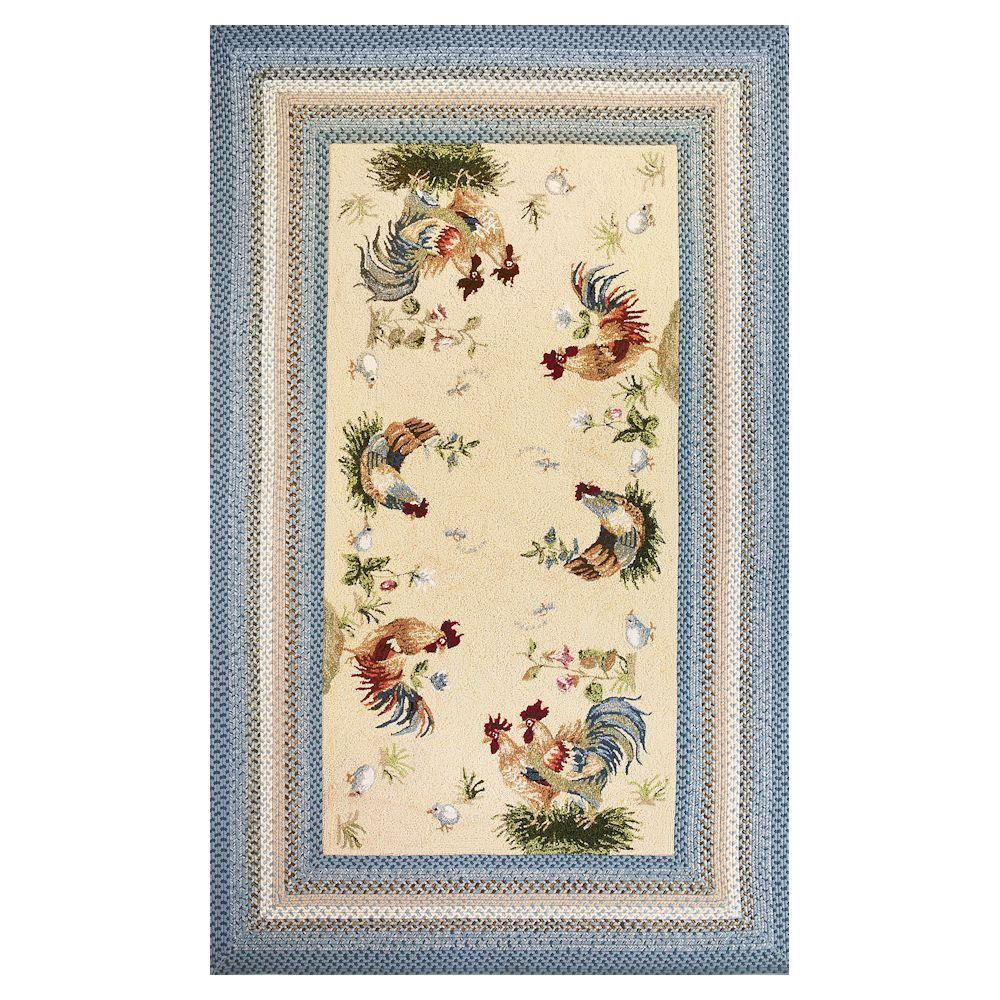 Kas Rugs Rooster Calling Beige/Blue 8 Ft. X 10 Ft. Area