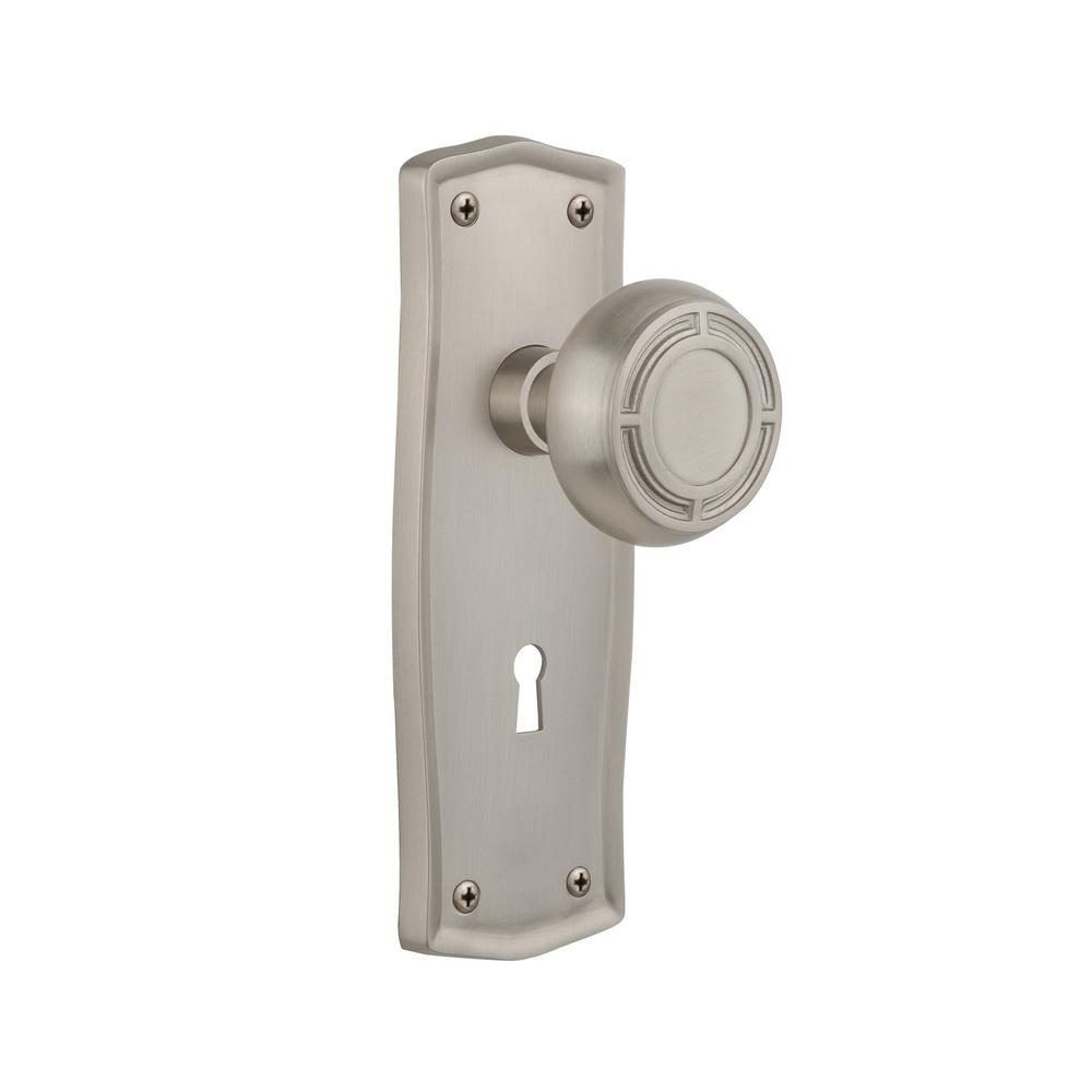 Prairie Plate with Keyhole Double Dummy Mission Door Knob in Satin