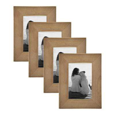 Museum 4 in. x 6 in. Rustic Brown Picture Frame (Set of 4)