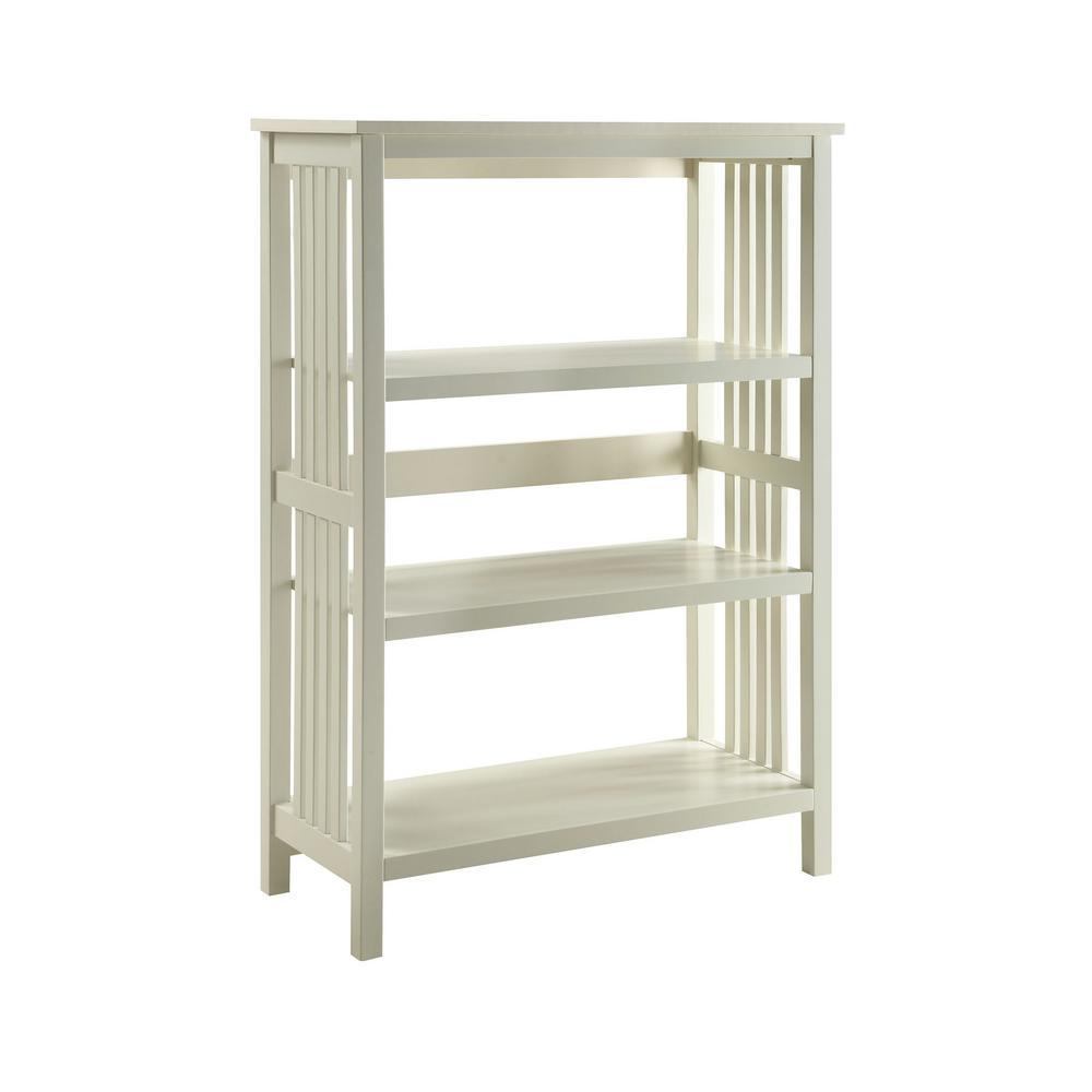 Mission White 3-shelf Bookcase