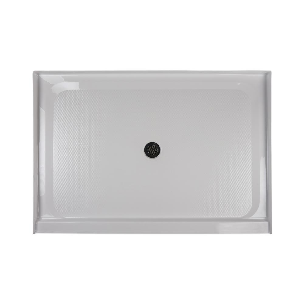 JACUZZI 60 in. x 48 in. Center Drain 3.19 in. Shower Base in White