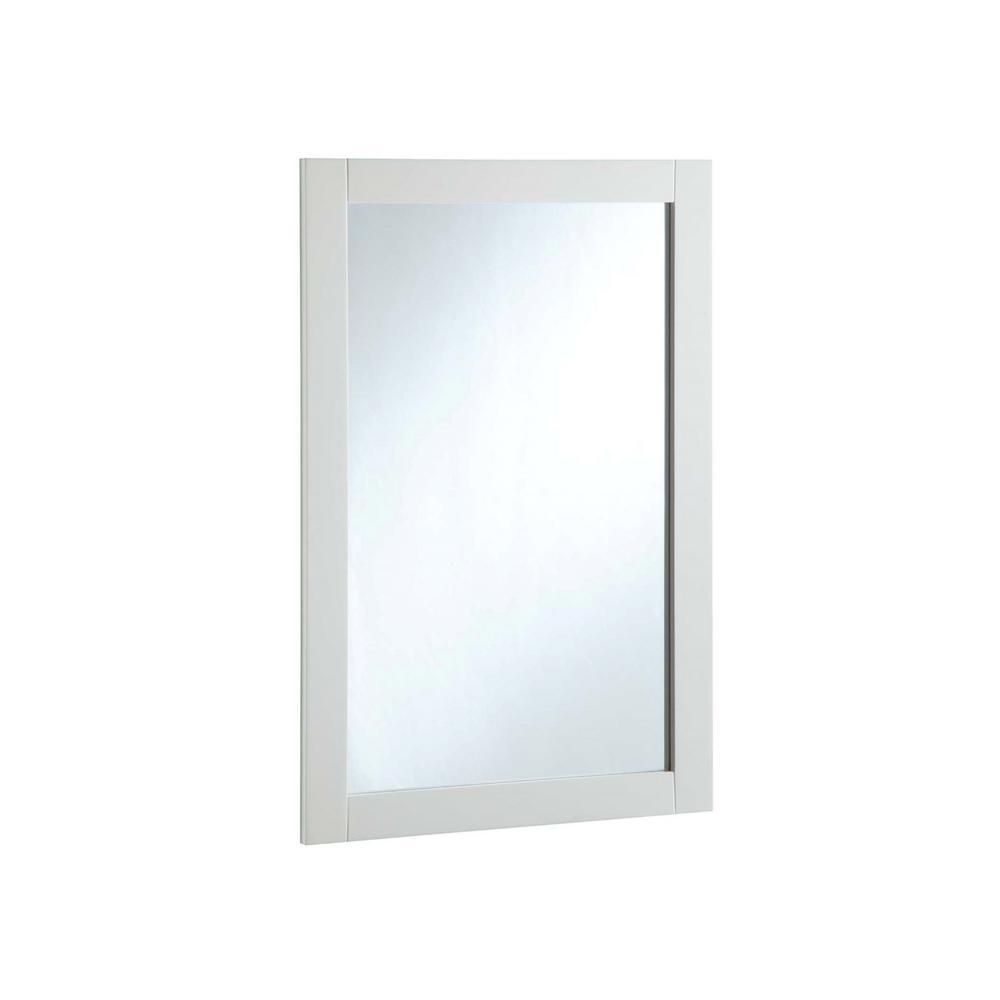 Shorewood 16.06 in. W x 26.06 in. H Framed Rectangular Bathroom Vanity Mirror in Semi-Gloss White