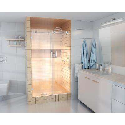 48 in. x 78 in. Frameless Sliding Shower Door in Brushed Nickel