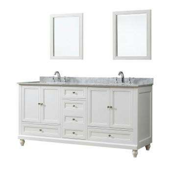 Classic 72 in. W Bath Vanity in White with Carrara White Marble Vanity Top with White Basins and Mirrors