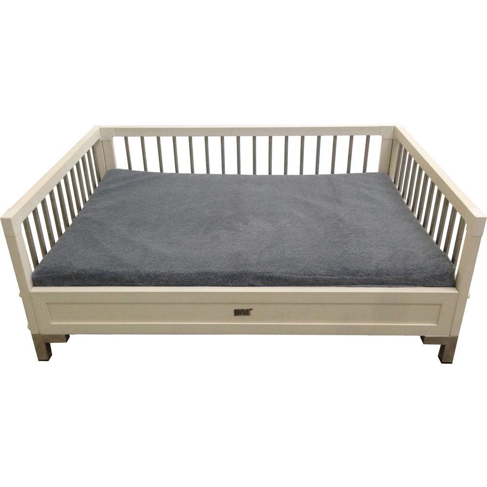 ecoFlex X-Large Antique White Raised Dog Bed with Memory Foam Cushion
