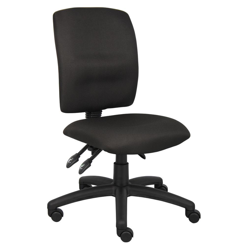 Black Crept Fabric Armless Ergonomic Multi-Function Desk Chair