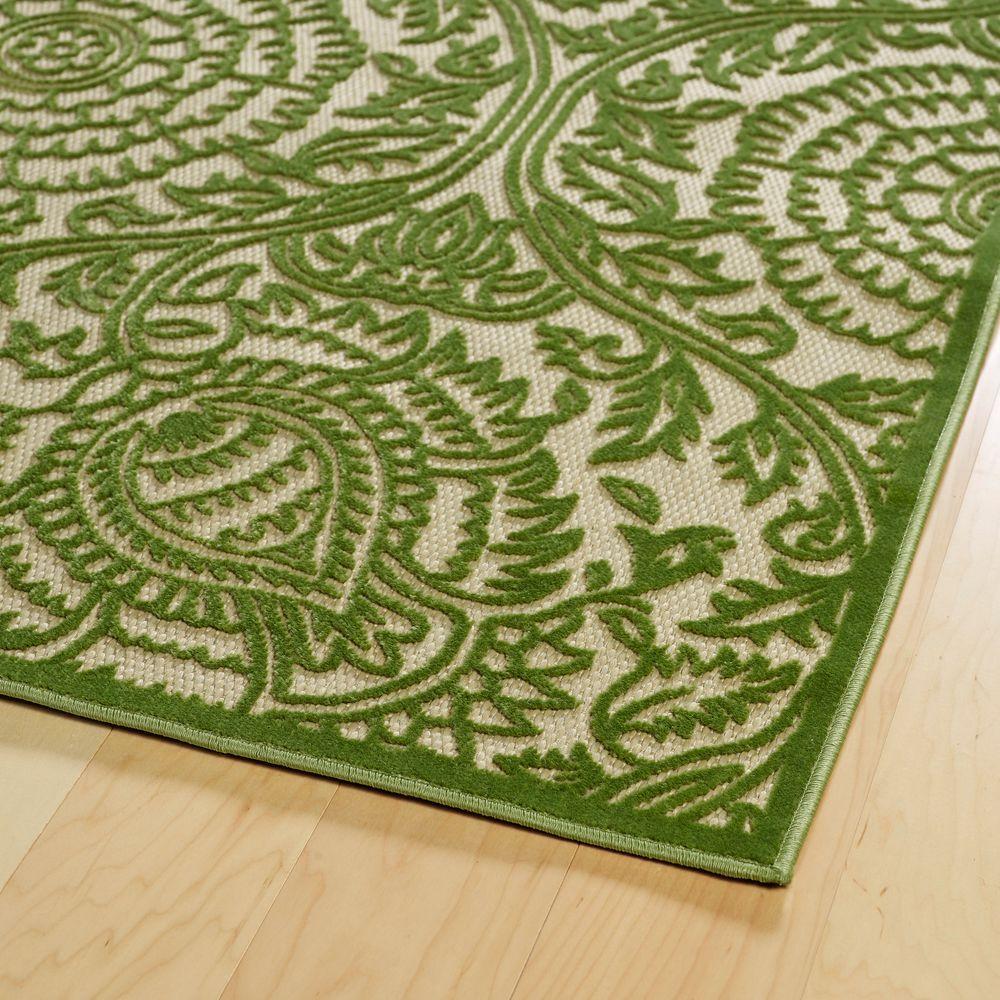Kaleen Five Seasons Green 9 Ft X 12 Ft Indoor Outdoor Area Rug Fsr102 50 8812 The Home Depot