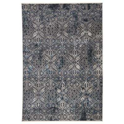 Frazier Power Loomed Dark Blue/Gray 8 ft. 10 in. x 11 ft. 10 in. Tribal Area Rug