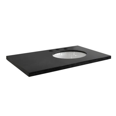 37 in. W x 22 in. D x 2 in. H Black Granite Vanity Top with Right Side Oval Sink