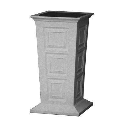 Savannah 16 in. Square Light Granite Poly-Resin Column Planter