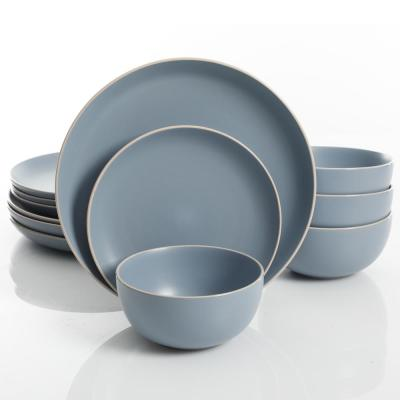Rockaway 12-Piece Blue Matte Glaze Dinnerware Set