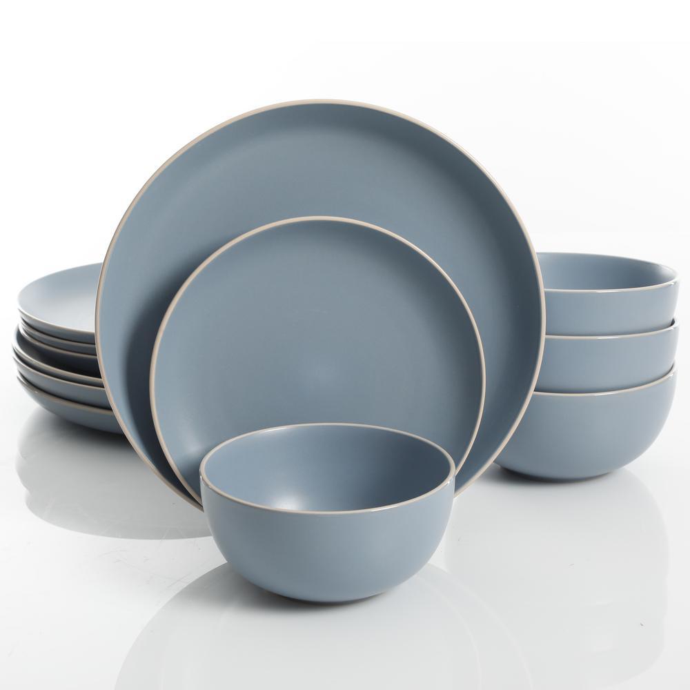 Rockaway 12-Piece Blue Matte Glaze Dinnerware Set