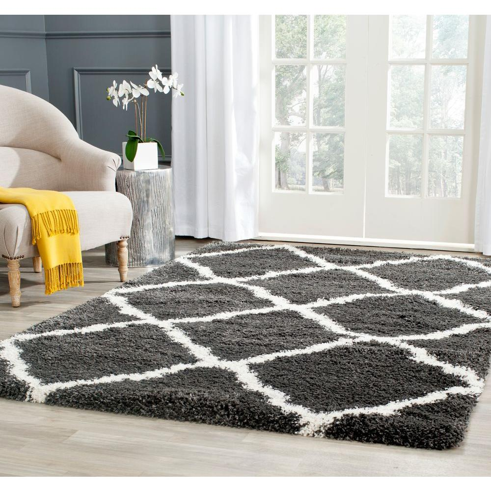 Safavieh Belize Shag Charcoal Ivory 8 Ft X 10 Ft Area Rug Sgb489c 8 The Home Depot