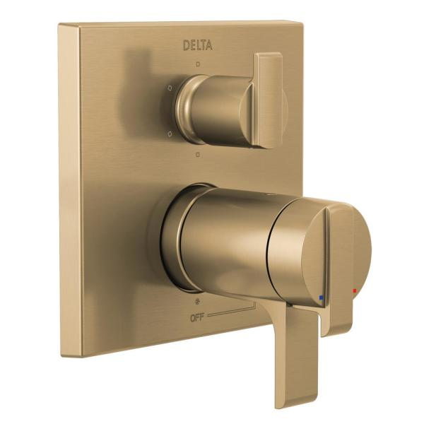 Ara 2-Handle Wall-Mount Valve Trim Kit with 6-Setting Integrated Diverter in Champagne Bronze (Valve not Included)