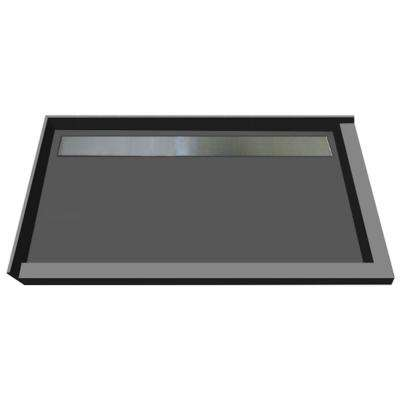 48 in. x 72 in. Double Threshold Shower Base with Back Drain in Gray and Solid Brushed Nickel Trench Grate