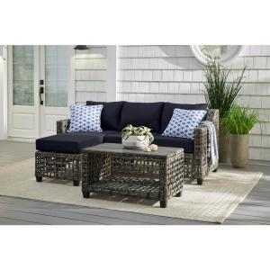 Briar Ridge 3-Piece Brown Wicker Outdoor Patio Sectional Sofa with CushionGuard Midnight Navy Blue Cushions