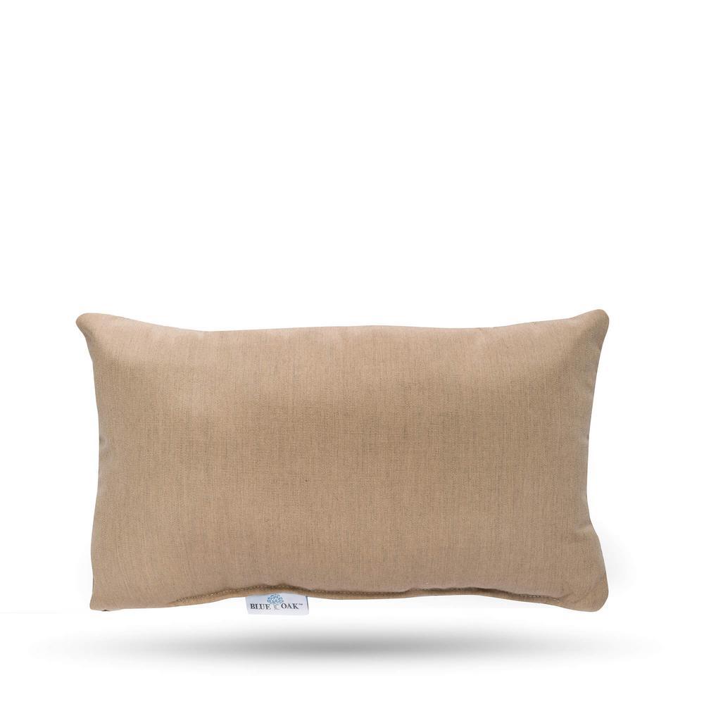 Sunbrella Heather Beige Rectangular Lumbar Outdoor Throw Pillow (2-Pack)