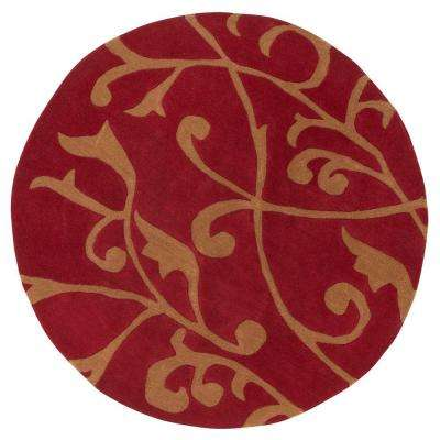 Perpetual Red 6 ft. Round Area Rug