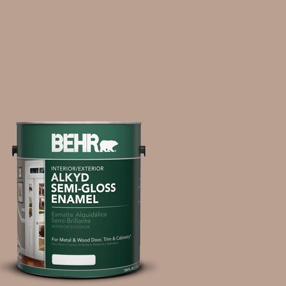 Behr 1 Gal Ae 3 Earthy Tan Semi Gloss Enamel Alkyd Interior