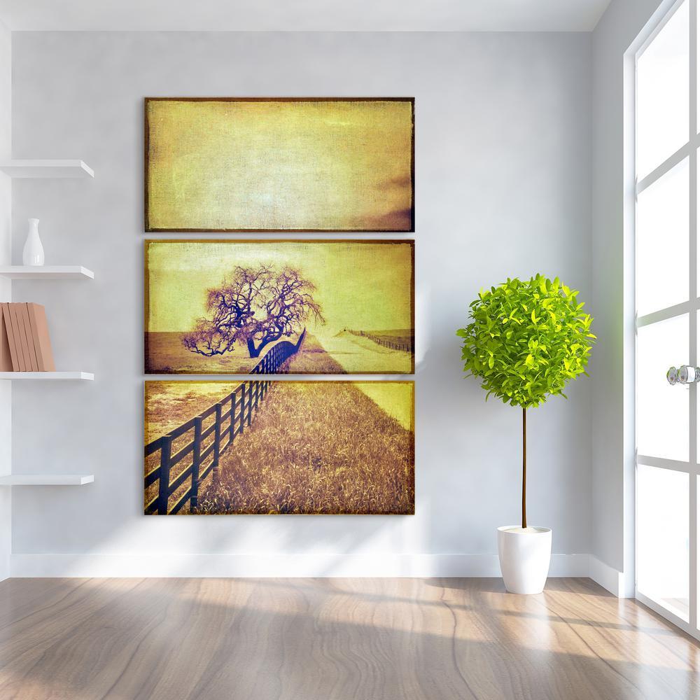 """24 in. x 48 in. """"Country Road"""" 3 Piece Digital Print on Fresco Jute Wall Art"""