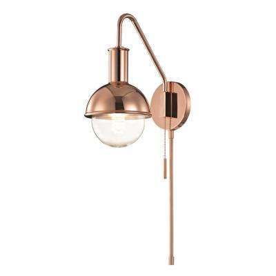 Riley 1-Light Polished Copper Wall Sconce with Plug
