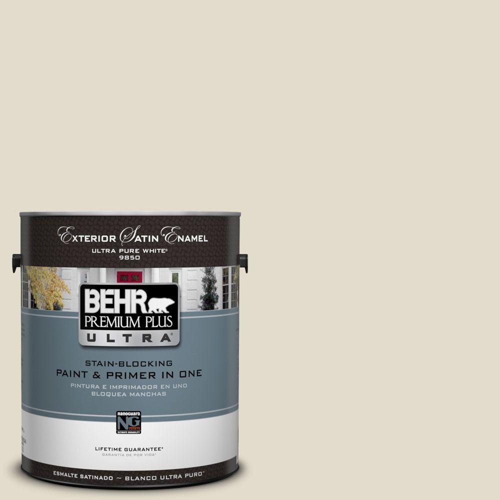 BEHR Premium Plus Ultra 1-Gal. #UL190-14 Vintage Linen Satin Enamel Exterior Paint