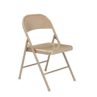 Beige Metal Stackable Folding Chair (Set of 4)