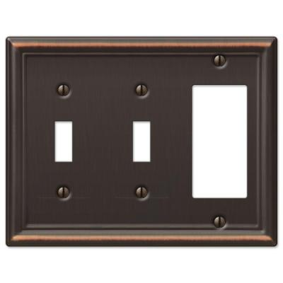 Ascher 3 Gang 2-Toggle and 1-Rocker Steel Wall Plate - Aged Bronze